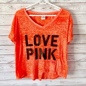 Victoria's Secret PINK Orange Heathered Tee XS